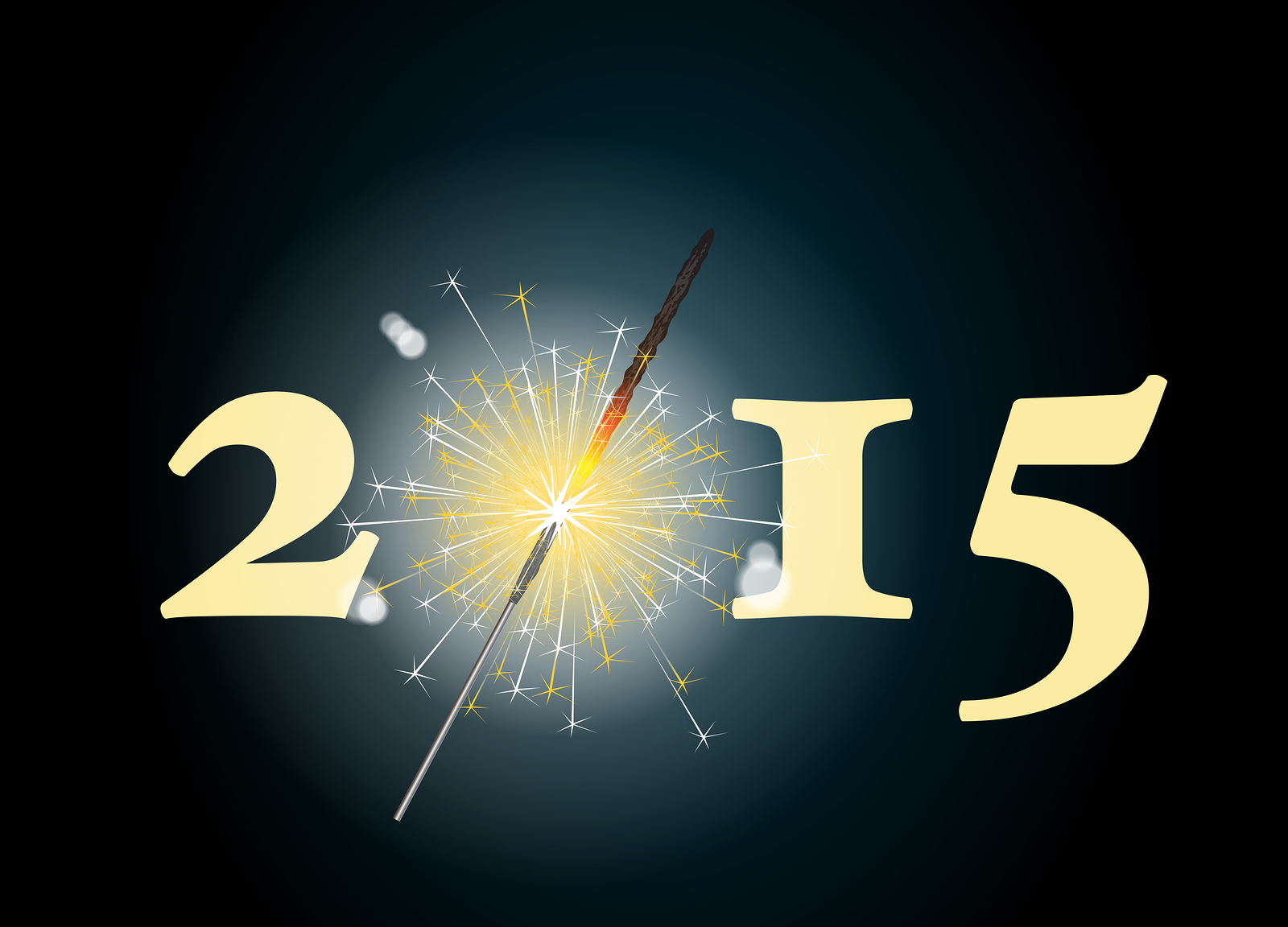 2015 banner with the zero being depicted by a glowing sparkler.
