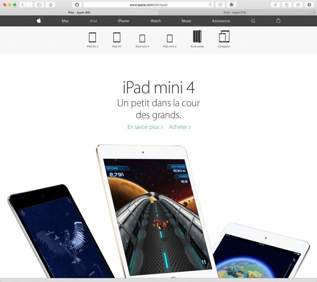 Site Apple Belgique - Section iPad