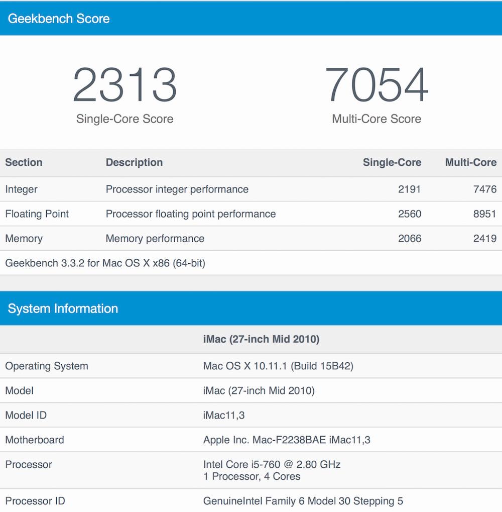 Score GeekBench 3 pour l'ancien iMac 27p Core i5 de mi-2010