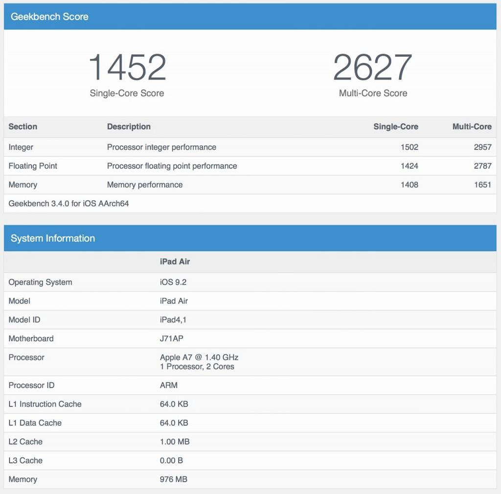 Test réalisé avec GeekBench 3 (iOS) sur iPad Air 1 32Go